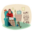 lady in armchair cats vector image