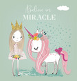 little cartoon white fairytale unicorn with vector image