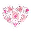 love bears with hearts set valentines day vector image vector image