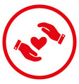 love heart care hands rounded icon vector image vector image