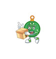 mascot with bring box in green christmas ball vector image vector image