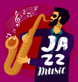 musician plays saxophone jazz music musical vector image vector image
