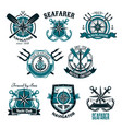 nautical heraldic icons of marine seafarer vector image vector image