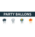party balloons icon set four elements in diferent vector image vector image