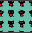 pattern seamless cute black cat holding red heart vector image vector image