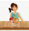 person with healthy food icons image vector image