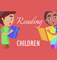 reading for children poster with boys vector image