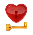 Red lock in the shape of heart vector image vector image