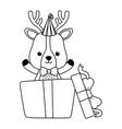 reindeer cartoon with happy birthday icon design vector image vector image
