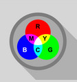 rgb button icon flat style vector image vector image