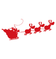 Santa riding sleigh cartoon vector image vector image