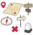 set map compass direction post and milestone vector image
