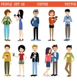 Set of modern people with paper glasses coffee vector image