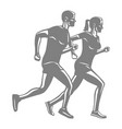 silhouettes of running man and woman on white vector image vector image
