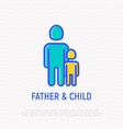 single father and child thin line icon vector image