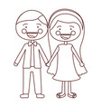 sketch contour smile expression cartoon couple in vector image vector image