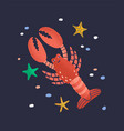 smiling lobster isolated on dark background vector image
