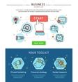 Startup Business Line Banner Set vector image