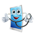 stethoscope cartoon phone mascot vector image vector image