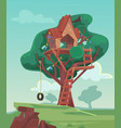 tree house flat cartoon vector image vector image