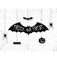 trick or treat halloween poster design with hand vector image vector image