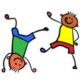 two boys playing color vector image