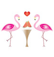 two flamingos in love eating watermelon fruits vector image vector image