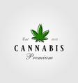 vintage cannabis green leaf logo designs vector image vector image