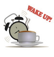wake up coffee waking morning clock alarm sleep vector image