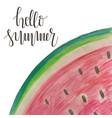 watercolor hello summer watermelon card vector image