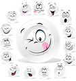 white plate cartoon with many expressions vector image vector image