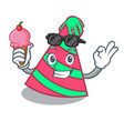 with ice cream party hat character cartoon vector image