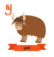 Yak Y letter Cute children animal alphabet in vector image vector image