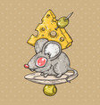 cartoon mouse with cheese and olives cartoon vector image