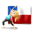 A girl stretching in front of a flag of chile vector image vector image