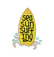 a hand-drawn lettering for surfing vector image vector image