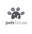 Abstract icon of pets paw with window and door vector image vector image