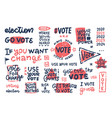 abstract objects and symbols for vote usa set vector image vector image