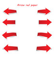 arrow red paper on white background vector image vector image