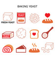 baking yeast color icons set - baking bread vector image vector image