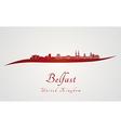 Belfast skyline in red vector image vector image