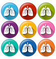 Buttons with lung organ vector image vector image