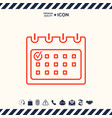 calendar with check mark- line icon vector image vector image