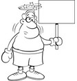 cartoon boxer holding a sign vector image vector image