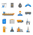 cartoon oil petroleum processing icons set vector image vector image
