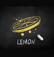 chalk drawn sketch lemon slice vector image