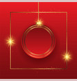 christmas background with hanging bauble in gold vector image vector image