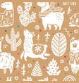 christmas llamas seamless pattern in decorative vector image