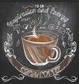 coffee poster with hand drawn coffee mug vector image vector image