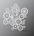 Cogs Paper Cut Gears on Grey Background vector image vector image
